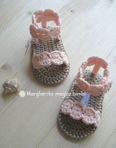 Sandali alla schiava colore rosa pesca in puro cotone fatti a mano, by Margherita maglia bimbi, 21,00 € su misshobby.com