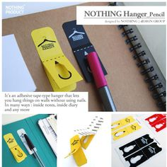 adhesive tiny hangers for pens--never lose a pen again!