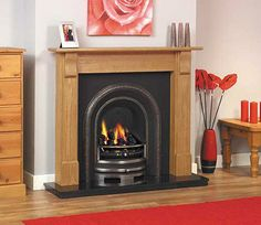 GAS CAST IRON BLACK GRANITE SOLID PINE WOOD SURROUND COAL FIRE FIREPLACE SUITE
