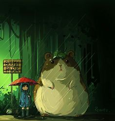 Craig and a guinea pig, My neighbor Totoro cross over -South Park