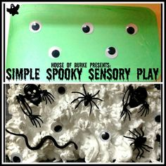 Simple Spooky Sensory Play - green oobleck w/google eyes; shaving cream w/insects