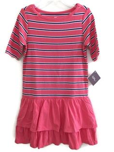 NWT Tea Collection 8 Dress Melon Guava Blue Berber Stripe Ruffled Tiered Morocco #TeaCollection #DressyEverydayHoliday
