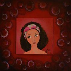 """Peinture acrylique  sur bois  40X40. """"Rose""""."""