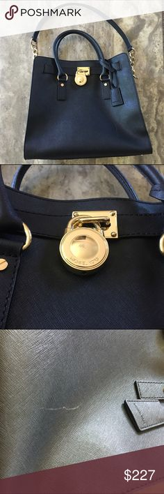 [mk] beautiful black Michael Kors bag with gold hardware. scratches on the lock, bottom of the bag and one in the front. overall great condition and it always gets compliments!   free gift with purchase | ships in two business days | please ask questions before purchase   offers only considered with tool | 10% off bundles  visit me on social media: instagram @flowersandgray snapchat: flowersandgray  xo, jess Michael Kors Bags