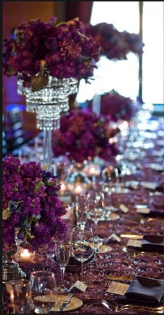 WEDDING Table Centerpiece Ideas Love purple! #weddings #weddingdecorating #weddingcenterpiece