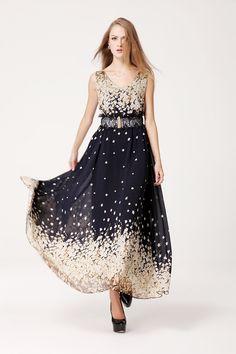 Printed Chiffon Positioning Small Cherry Blossom Loose Dress