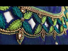 Aari work in normal needle stitch/maggam work/work on stitched blouse/aari work - YouTube