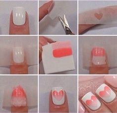 Paint nails white. Cut a heart shape out of tape. Place tape on nail. Paint two colors onto a beauty sponge. Dab beauty sponge onto tape with heart cut out. Let dry. Peel off tape and apply a top coat.