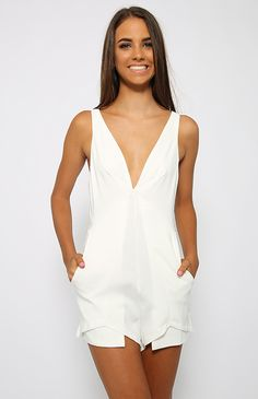 Never Mind Playsuit - White | New Arrivals | Peppermayo