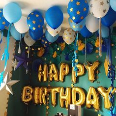 Images of birthday decoration with balloons and banner Homemade Birthday Decorations, Office Birthday Decorations, Birthday Balloon Decorations, Birthday Balloons, Birthday Party Decorations, Boys First Birthday Party Ideas, Monster Birthday Parties, 1st Boy Birthday, Happy Birthday Wishes