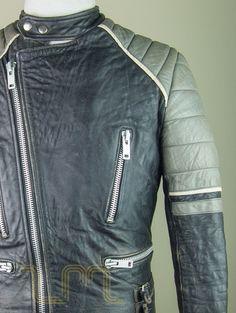 Vintage Black And Grey Leather Cafe Racer Biker Jacket leather jacket