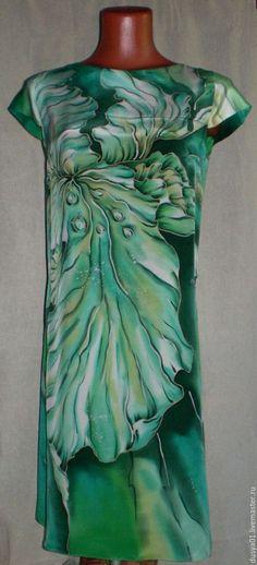 Платья ручной работы. Ярмарка Мастеров - ручная работа. Купить Платье-Батик''Изумрудный ирис''. Handmade. Зеленый, платье, натуральный шелк
