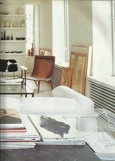 """My creative space would be a mix of modern and vintage, light and spacious, full of artwork, like Mats Gustafson's New York loft ( Marie Claire Maison, March 1993 """"L'art de vivre à New York"""" by S.Siesin, S. Cliff, D. Rozensztroch and G. de Chabaneix.)"""