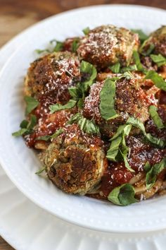 Mashed lentil quinoa meatballs that look just like real meatballs, perfect for pairing with your favorite tomato sauce and a big bowl of warm noodles.