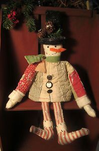 PRIMITIVE Folk Art Christmas SNOWMAN made from Antique QUILT - Holiday Decor