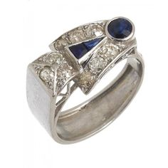 1940s Sapphire & Diamond Cocktail ring sold for £800 at Mellors & Kirk's June 2019 Fine Art Sale #cocktailring #1940sfashion #diamondring #decojewellery #mellorsandkirk