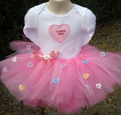 Custom Valentine Candy Heart tutu onesie set by LollysSewingRoom - StyleSays