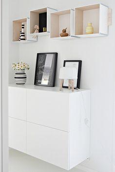 shelves with Prank Ikea boxes Box Shelves, Diy Wall Shelves, Shelving, Home Interior, Interior Decorating, Interior Design, Creation Deco, Scandinavian Home, Home And Deco