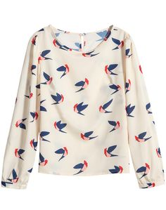 Blusa cuello redondo aves manga larga-crudo 14.40