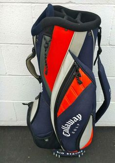 CALLAWAY BIG BERTHA CART GOLF BAG~NAVY/ORANGE~GOOD CO~RAIN COVER~PRE OWNED~6 WAY #Callaway #Modern Big Bertha, Golf Irons, Golf Bags, Golf Clubs, Cart, Orange, Cover, Covered Wagon