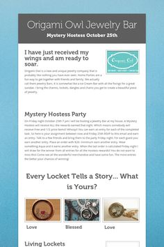 Origami Owl Jewelry Bar - Mystery Hostess party