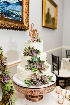Same Sex Rose Gold Wedding in Downtown Orlando at Courtyard at Lake Lucerne. Love Always Wins - Orlando Wedding Planner - Plan It Events Wedding Cake Prices, Fall Wedding Cakes, Wedding Cake Designs, Gold Wedding, Wedding Snacks, Rustic Wedding, Dream Wedding, Succulent Wedding Cakes, Succulent Cakes