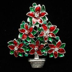 Christmas Tree Pin Vintage Enamel Poinsettias Xmas Brooch | eBay