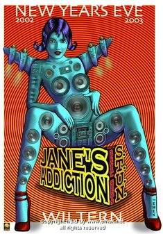 """Jane's Addiction concert poster (click image for more detail) Artist: EMEK Venue: Wiltern Theatre Location: Los Angeles, CA Concert Date: 12/31/2002 Size: 20"""" x 29"""" Condition: Mint Notes: signed and d"""