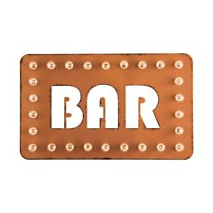 Direct your guests to your personal watering hole with the timeless charm of this metal BAR Marquee Sign. With its cutout block lettering and a worn orange finish, this retro-inspired light-up sign wil...  Find the BAR Marquee Sign, as seen in the Industrial Chic Collection at http://dotandbo.com/collections/industrial-chic?utm_source=pinterest&utm_medium=organic&db_sku=DBIMRQ-41