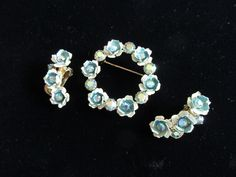 Weiss Jewelry Set, Brooch and Clip Earrings, Blue Metal Flowers with AB Blue Rhinestones by MySimpleDistractions on Etsy