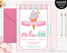 Mint and Pink Ice Cream Party Birthday Invitation Template. Printable Ice Cream Birthday Invitation. Ice cream Party Birthday Invitation. by HandmadeIncredible on Etsy