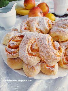 Sweet Rolls with Apple Jam. Apple Jam, Polish Recipes, Polish Food, No Bake Cake, Doughnut, Pancakes, Favorite Recipes, Sweets, Cookies
