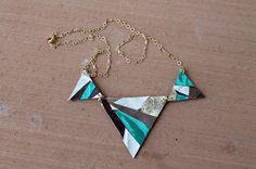 How to Create Geometric Leather Pendant Necklaces via Brit + Co.