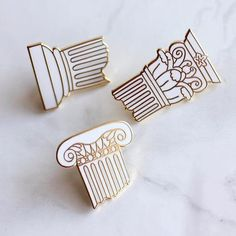 Classical Column Pin Set - Mythology Architecture Art History Archaeology Rome Greece Lapel Pin // Hard Enamel Pin, Cloisonné, Pin Badge by shinyappl. Pins Badge, Jacket Pins, Hard Enamel Pin, Cool Pins, Pin And Patches, Architecture Art, Revival Architecture, Classical Architecture, Victorian Architecture
