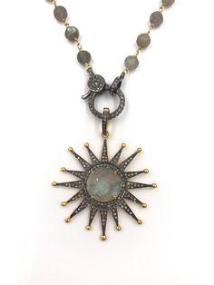 Short diamond labradorite star necklace, Pave diamond necklace, Layer necklace, Rosary chain, Labradorite star by UlkaRocks on Etsy