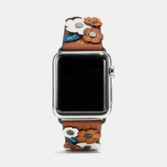 Apple Watch® Tea Rose Applique Leather Strap