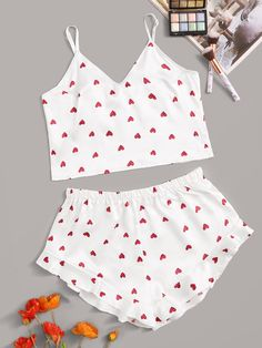 To find out about the Heart Print Satin Cami With Ruffle Shorts at SHEIN, part of our latest Sexy Lingerie ready to shop online today!