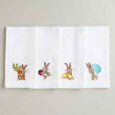 Bunny Embroidered Napkins at Cost Plus World Market >>  #WorldMarket Easter Style Hunt Sweepstakes. Enter to win a 1K World Market gift card.