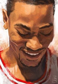 A digital Painting of my favorite basketball player Derrick Rose. Derrick Rose Wallpapers, Nba Wallpapers, Basketball Art, Basketball Pictures, Basketball Quotes, Basketball Shirts, Basketball Players, Basket Drawing, Nba Pictures