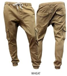 Drop Crotch Twill Cargo pants for Men with elastic waist and drawstring Beige #WholesaleLA #Cargodropcrotchjoggers