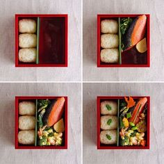How to arrange rice balls/onigiri and other food into a bento box Sushi Recipes, Gourmet Recipes, Japanese Menu, Japanese Lunch Box, Rice Menu, Bento Box Lunch, Lunch Boxes, Healthy Packed Lunches, Plate Lunch