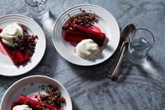 Baked rhubarb with rosewater, quinoa crumble and whipped ricotta