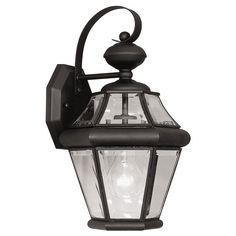 Livex Georgetown 2161-04 Outdoor Wall Lantern - 15H in. Black - 2161-04