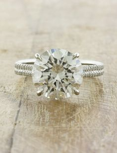 Unique engagement rings with thin pave band  by ken and dana design