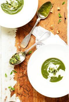 Spinach soup with walnut pesto.