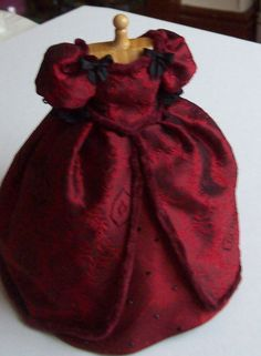 Red silk Victorian gown on mannequin by JustForYouMiniatures