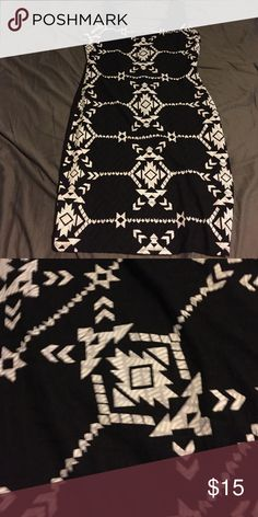 Black and white tribal print fitted dress Black and white tribal print fitted dress. Worn twice. Great condition. Xhilaration Dresses Mini