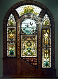 Prairie School Stained Glass Window In A Geometric Design