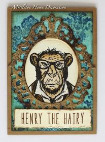 Tim Holtz Hipster stamp - Card with a framed chimp