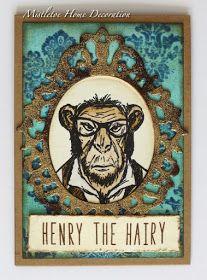 Tim Holtz Hipster stamp - Card with a framed chimp